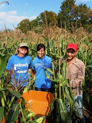 Farmer Charlie Ham with his employees Lindsey and Varo volunteering their time at the Food Bank Farm.