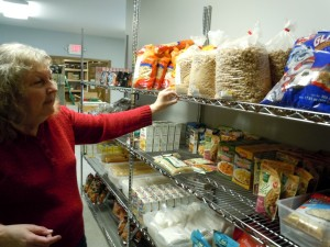In 2013, Helping Hands provided 45,000 meals, and much of that food came from Feeding America West Michigan. (Joyce Ebenstein pictured.)