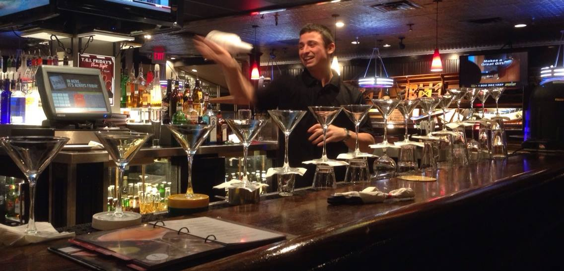 TGI Friday's bartender Dan Jeffers practices his moves ahead of the March 11 competition.