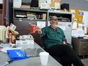 Food Bank volunteer Dean Harvey enjoys a cup of Yooper coffee.