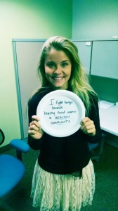 """Lyn Carey from Alliance For Health completes the sentence """"I fight hunger because..."""" in her #paperplateselfie."""
