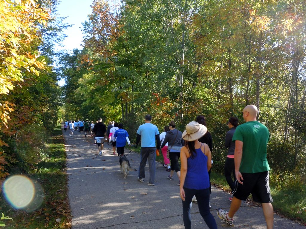 Hikers start off on the White Pine Trail toward Belmont.