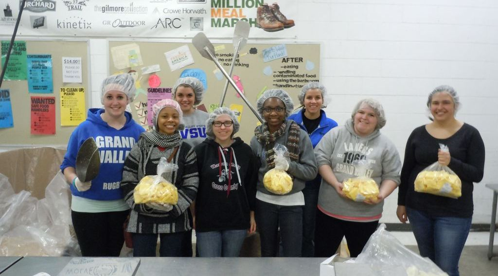 Cargill eggs are repackaged into family-size bags by volunteers at the Food Bank.