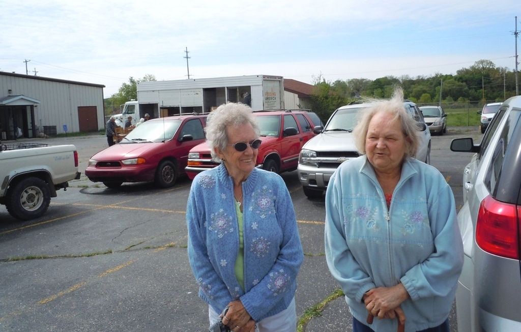 Jean and Doris, two sisters from Belding, received several days' worth of food from Greenville's Mobile Pantry on May 21.