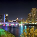 Grand Rapids' iconic Blue Bridge will be lit orange in support of Hunger Action Month. Photo credit: Russell Sekeet