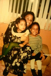 Gabby Vernon with her older sister, Brittany, left, and her mom.