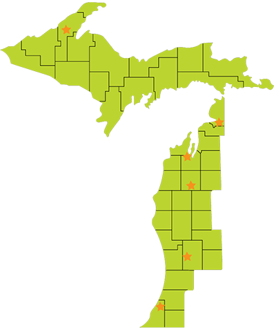Map of our service area - the western third of the lower peninsula and whole upper peninsula of michigan, 40 counties in total