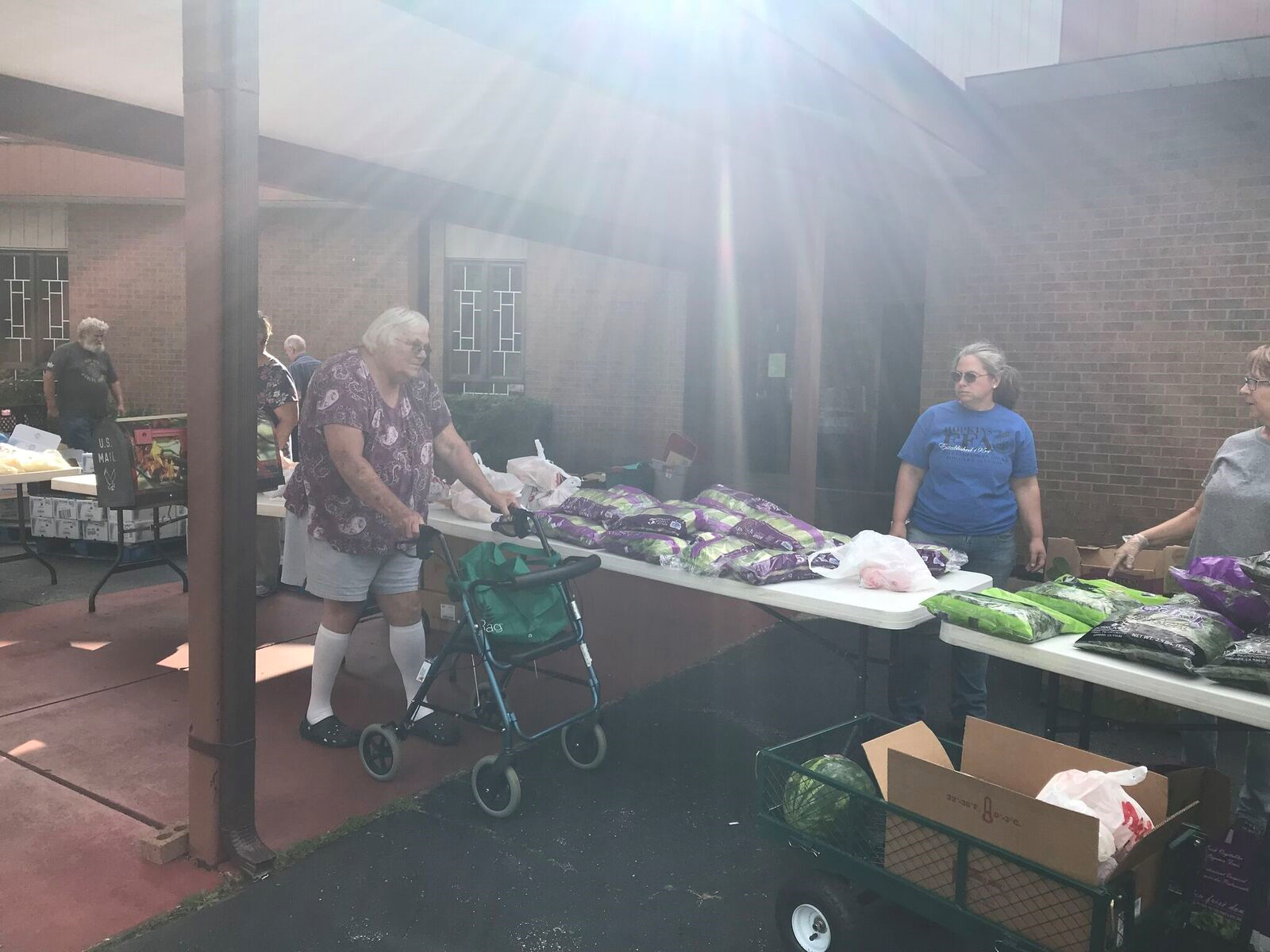 Nelda walking through the line at a mobile food pantry