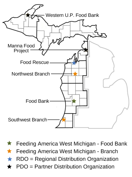 map showing Feeding America West Michigan's six branches/partners