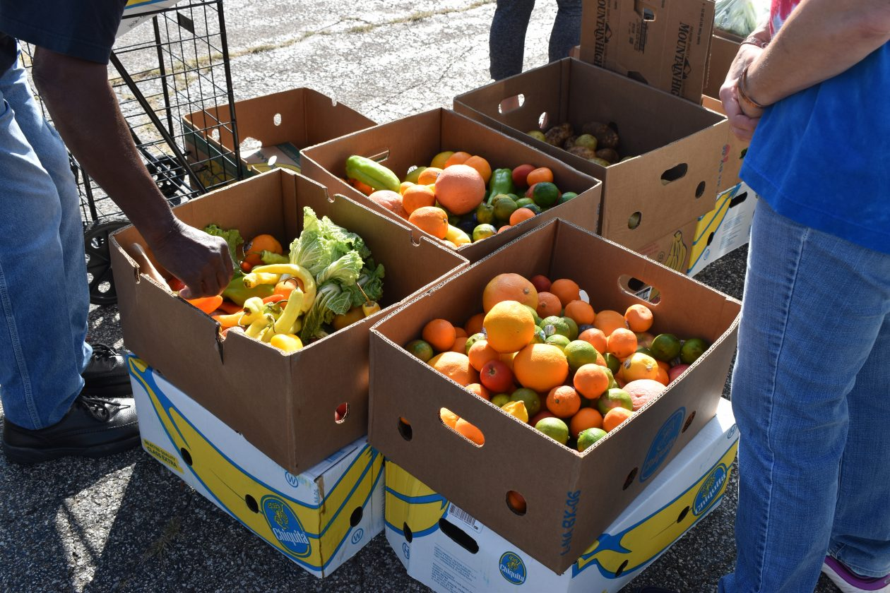 Bright and juicy looking oranges await distribution at a Mobile Food Pantry.