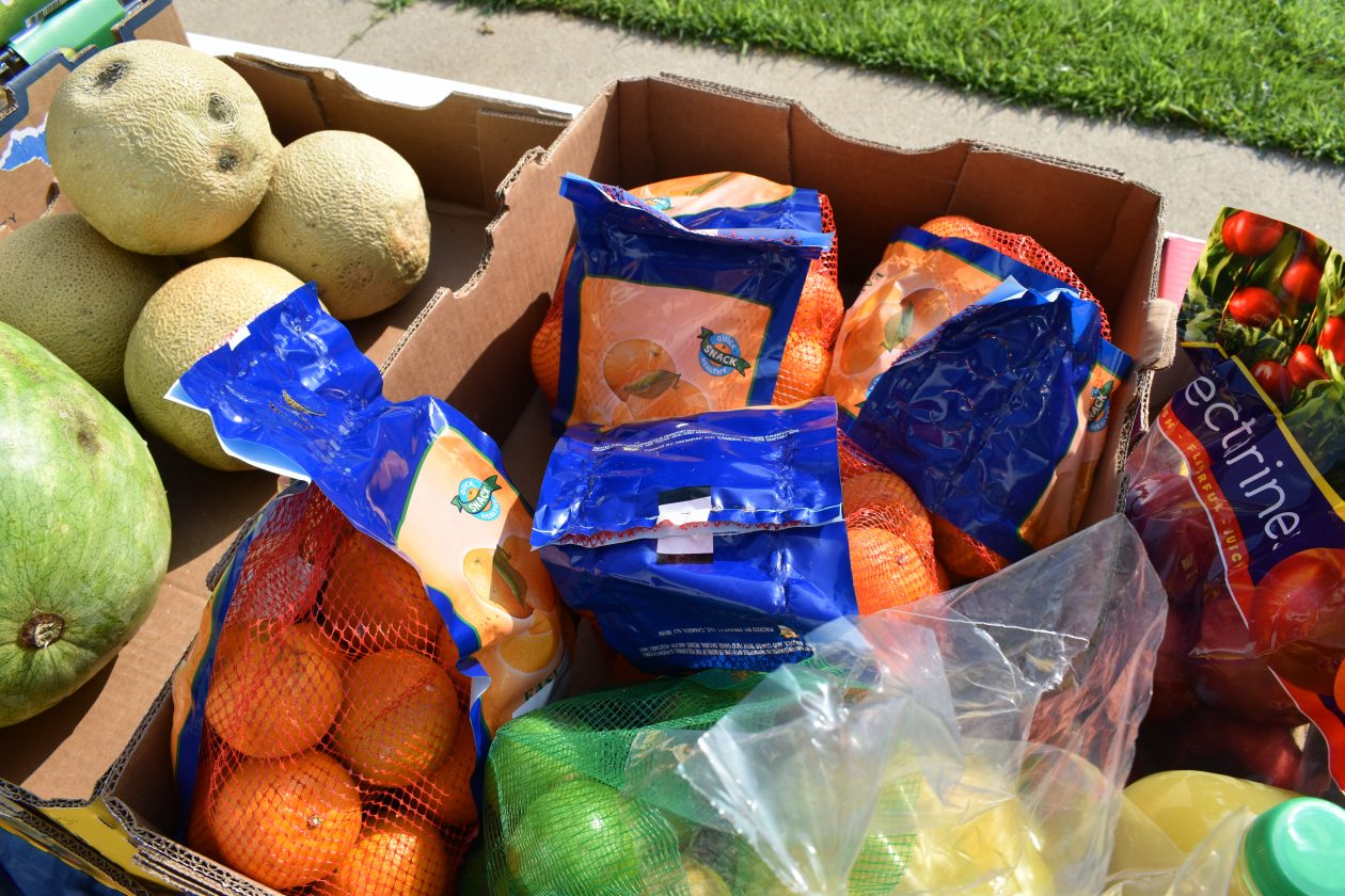 A variety of fruit waits at a Mobile Pantry.
