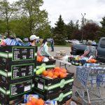 food and volunteers at Mobile Pantry
