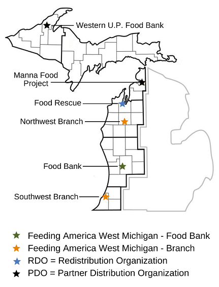 Map shows the food bank's location as well as the location of it's two branches (Southwest and Northwest), two partner distribution organizations (Manna Food Project, Westnern U.P. food bank) and one redistribution organization (food rescue).