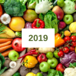 the number 2019 with produce behind it
