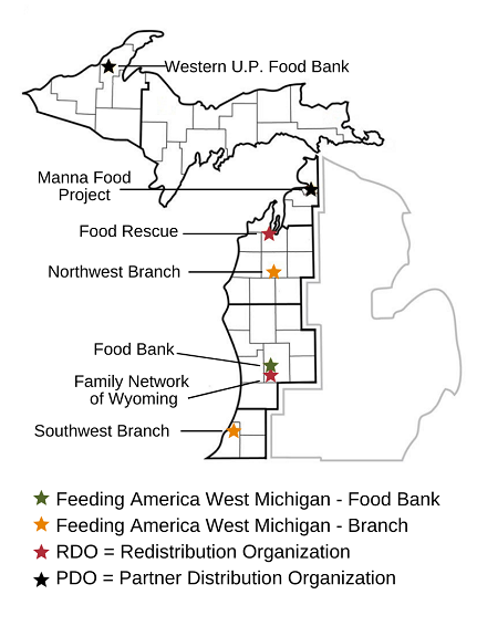 Map shows the food bank's location as well as the location of it's two branches (Southwest and Northwest), two partner distribution organizations (Manna Food Project, Westnern U.P. food bank) and two redistribution organization (food rescue and family network or wyoming.).