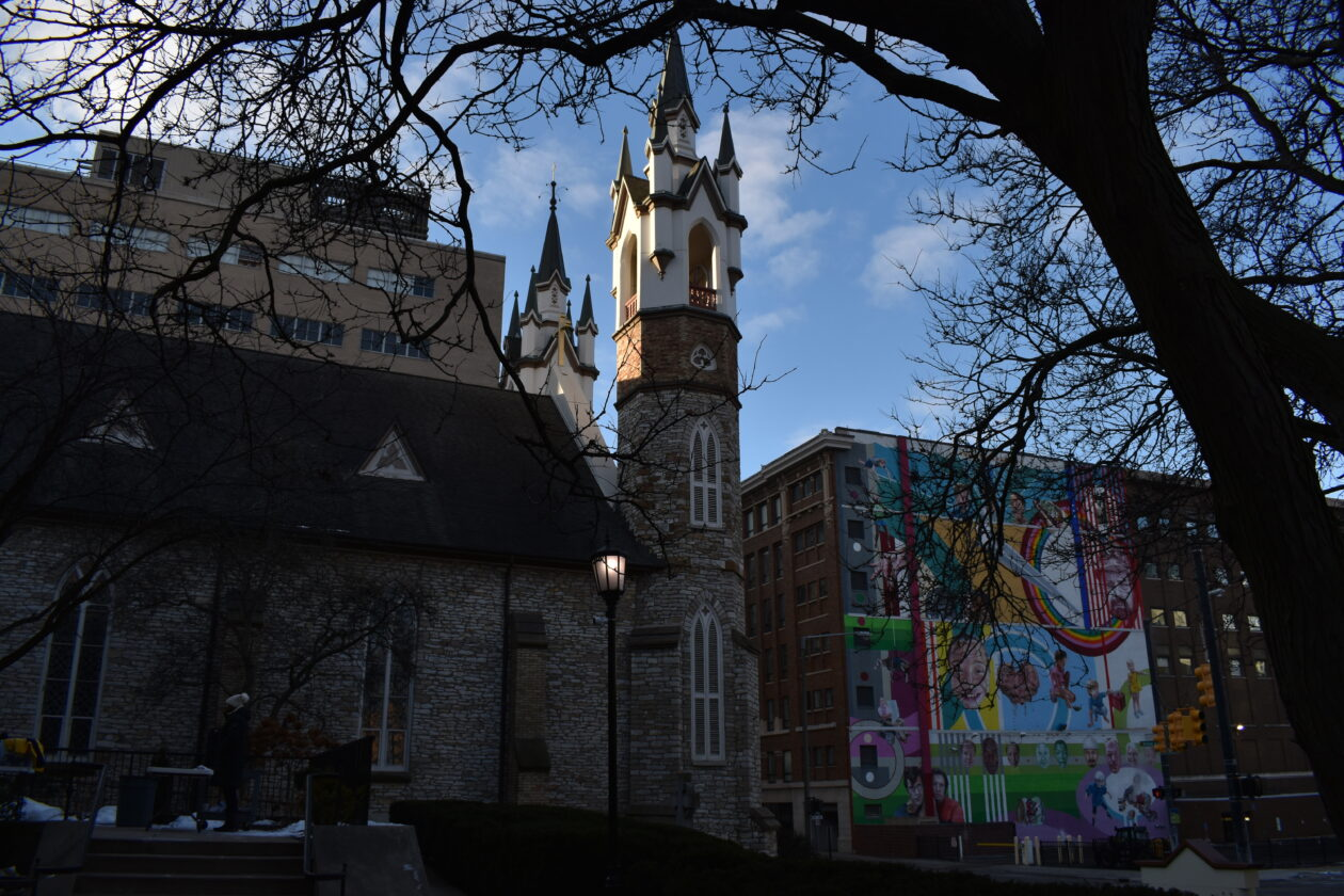 St. Mark's steeples touch the clear sky in the middle of Grand Rapids' downtown