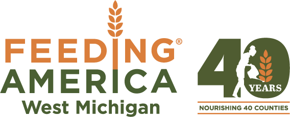 Feeding America West Michigan Food Bank 40th Anniversary logo - 40 years nourishing 40 counties - and home link