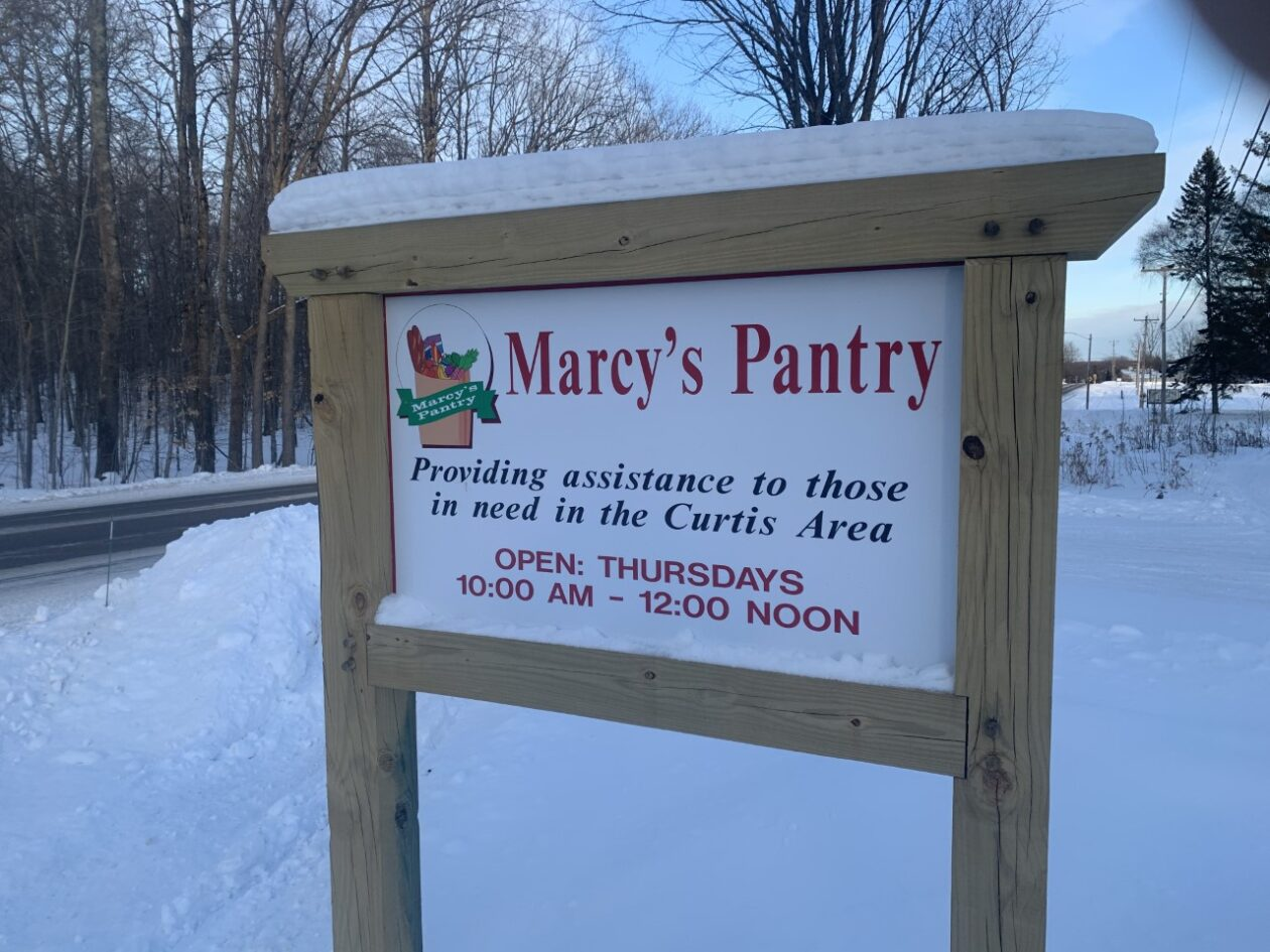 A photo of the Marcy's Pantry sign