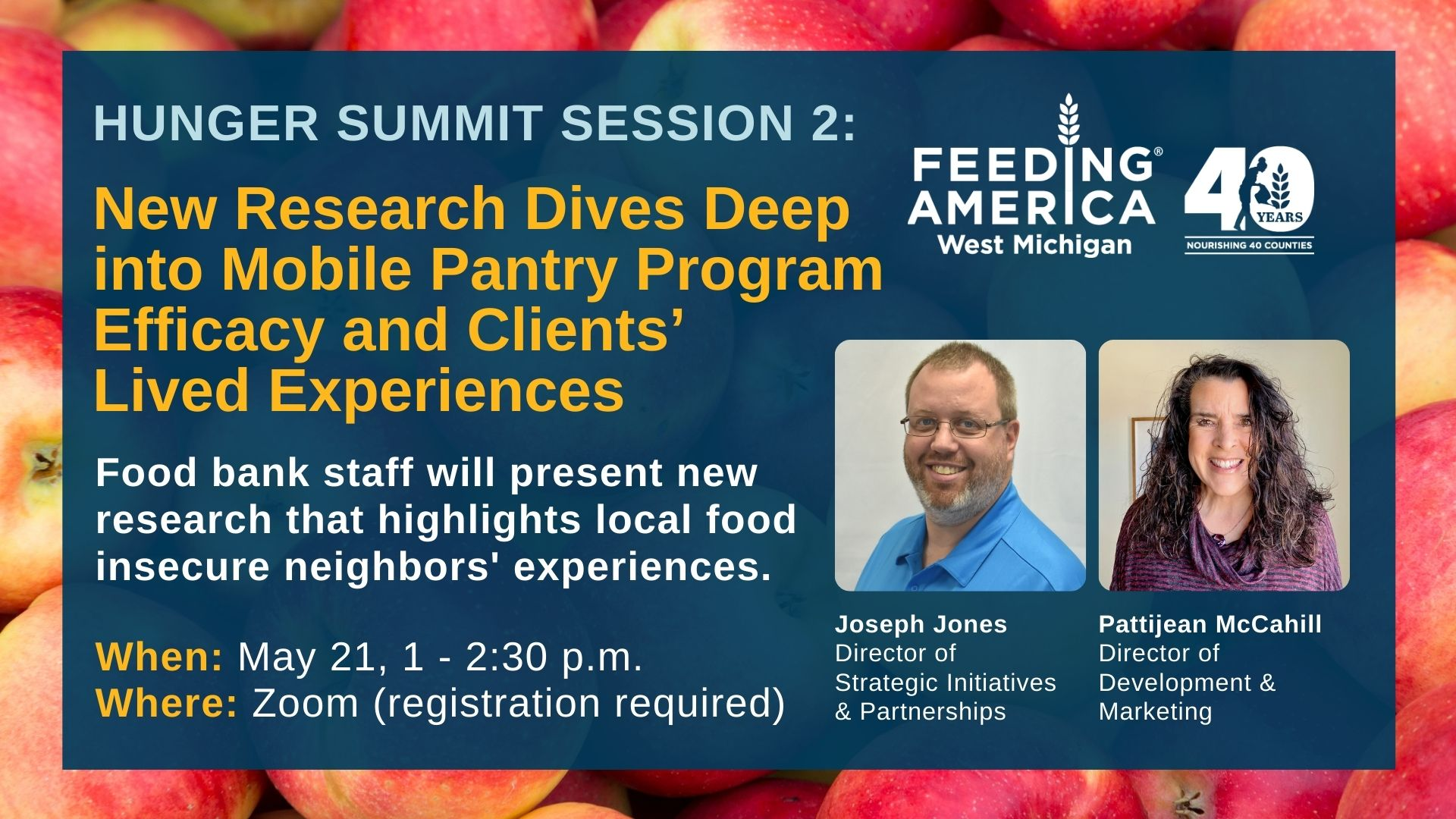 Hunger Summit Session 2 - New research dives deep into mobile pantry program efficacy and client's lived experiences - food bank staff will present new research that highlights local food insecure neighbors' experiences - May 21, 1-2:30 PM on Zoom (registration required)