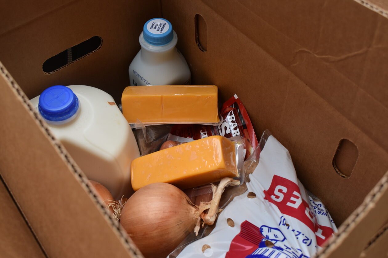 A Farm to Family box given out at the Mobile Pantries is full of cheese, milk, onions and other food