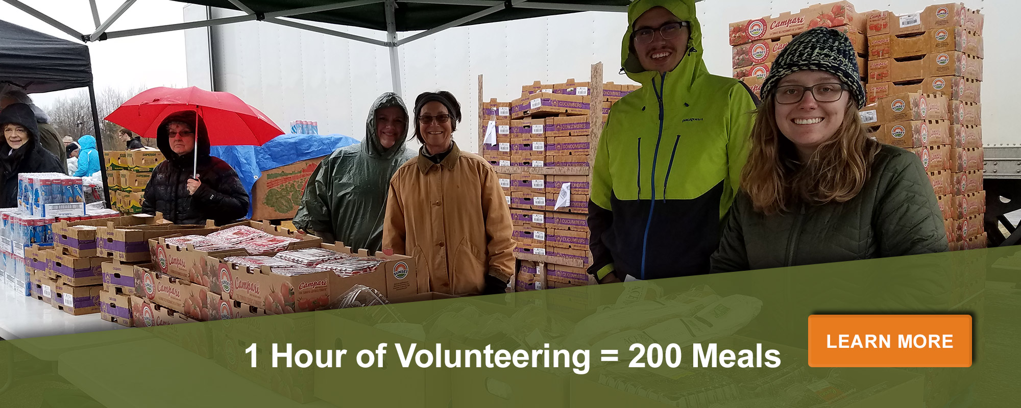 One hour of volunteering equals 200 meals. Learn more here.