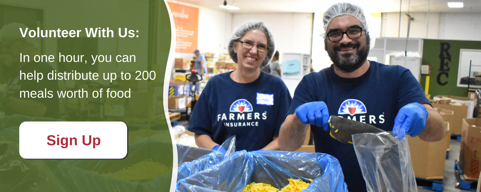 Volunteer with us. In one hour, you can help distribute up to 200 meals worth of food. Sign up.